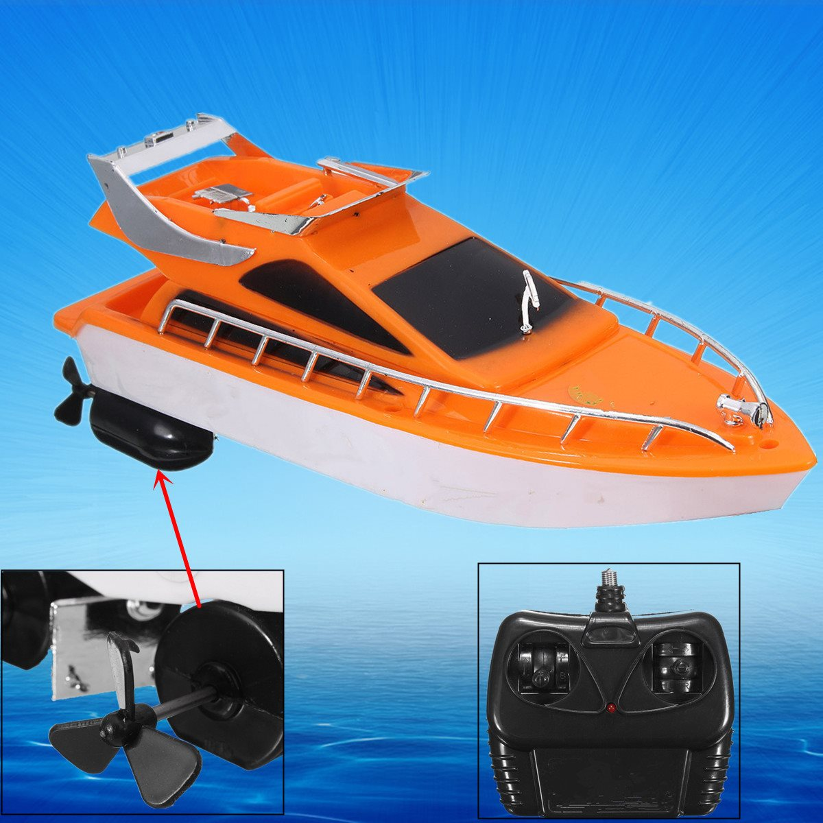 Hot Sale Orange Mini RC Boats Plastic Electric Remote Control Speed Boat Kid Chirdren Toy 26x7.5x9cm(China (Mainland))
