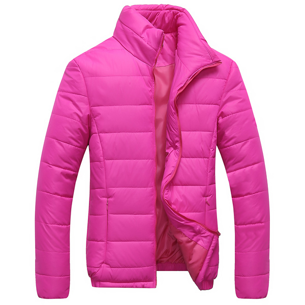 2015 New Arrival Women Winter Warm Down Coats Size M-2XL Solid Color Stand Collar Slim Fit Lady Fashion Cotton Jackets(China (Mainland))