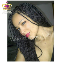Free shipping natrual color glueless twist braided synthetic lace front wigs micro braids wig for african and american woman