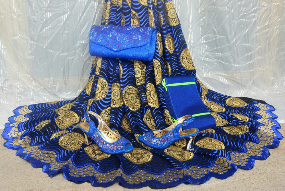 Lace and Headtie Set 5 yards African lace fabric matching shoes and bag royal blue high quality swiss voile laces switzerland(China (Mainland))