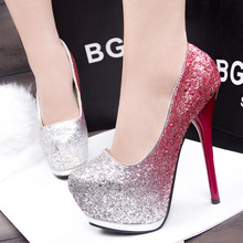 Korean fashion shoes sexy nightclub high with fine with waterproof shoes were thin low-cut shoes(China (Mainland))