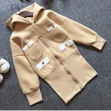 New Baby Girls Sweatshirts Hooded Zipper Wool Spring Pullover Children Hoodies Fashion Coat For Girls Long Dress Outwear(China (Mainland))