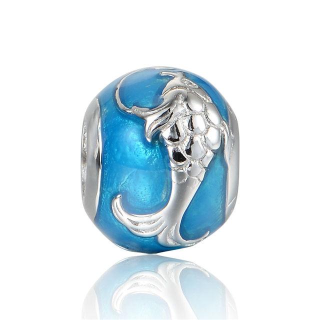 925 - серебристо-ювелирные бусины рыба схеме на синем бусины Fit Chamilia пандора браслеты серебро 925 мода DIY