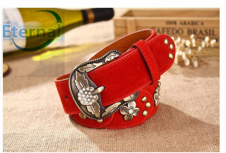 2014new fashion hot Brand Women's Genuine Leather Belt,Vintage Style Metal flower With Rhinestone belt Pin Buckle elastic belt/6(China (Mainland))