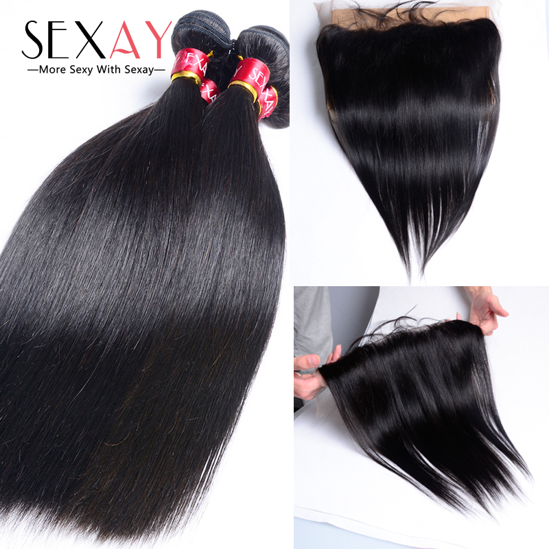 Ear To Ear Lace Closure Straight With Hair Bundles 6A Unprocessed Peruvian Straight Hair With Lace Frontal 13x4 Bleached Knots<br><br>Aliexpress