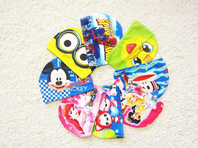 EMS/DHL Free Shipping 2016 New Boys And Girls Lovely Cloth Baby Cartoon Super Elastic Swimming Cap(China (Mainland))