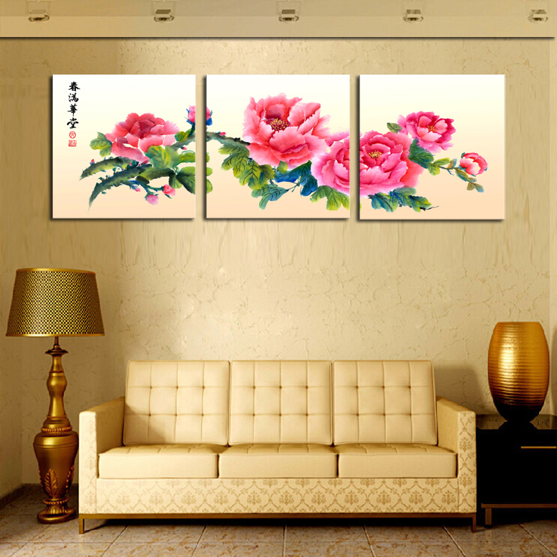 Unframed 3 sets canvas painting red chinese style flowers for Cheap chic home decor