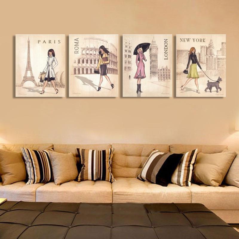 Buy 4 piece mulit wall pictures fashion - Pinturas para el hogar ...