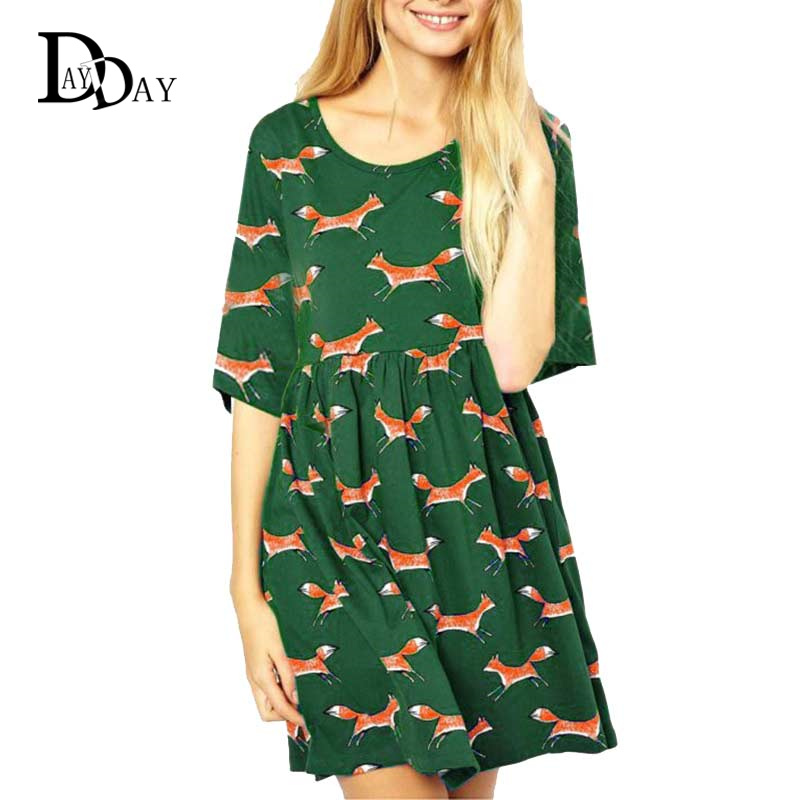 2016 Women Spring Summer Dresses Half Sleeve Casual Loose Retro Animal Fox Print Green Mini Dress Plus Size S201139