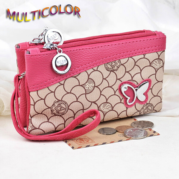 New Arrival Women Wallets Double Zipper PU Leather Cute Butterfly Girls' Coin Purse Lady Clutch Wallet Money Keys Bags Wholesale(China (Mainland))