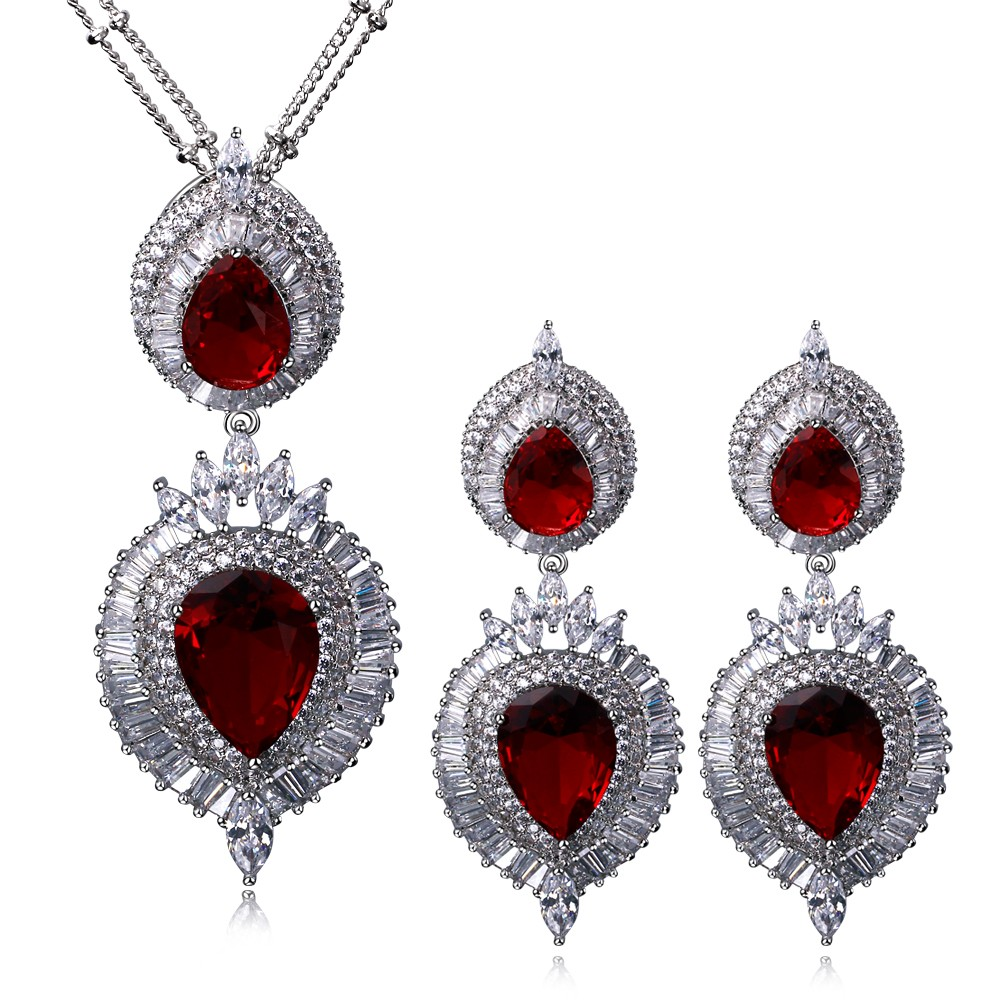 Mansaku New Luxury Big Pendant Necklace &amp; Earrings Set for Women Platinum Plated Siam Cubic Zirconia Pave Setting Anti Allergic<br><br>Aliexpress
