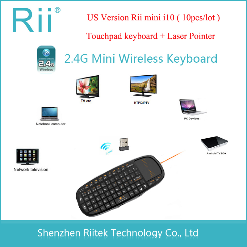 2.4Ghz Rii mini i10 Wireless Keyboard Touchpad Laser Pointer Combo Portable Keybord for mini PC Windows Tablet Android TV Box(China (Mainland))