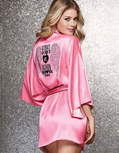 Robes for women Peach pink angel wings hot diamond robe/pajamas/bath robe kimono sexy silk robe Nightgown(China (Mainland))