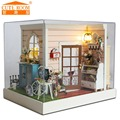 Doll home furnishings miniatura diy doll homes miniature dollhouse wood handmade toys for youngsters birthday reward H011