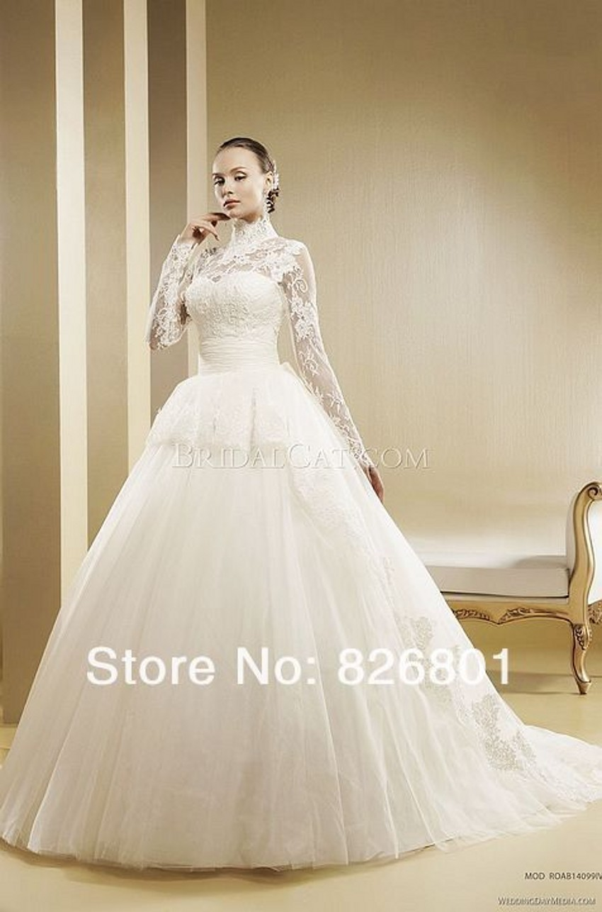 Vestido de noiva 2015 modern muslim wedding dress ball for Modern long sleeve wedding dresses