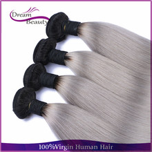 discount hair 4pcs straight grey ombre bundles two tone ombre malaysian virgin hair extension human hair weft free shipping(China (Mainland))