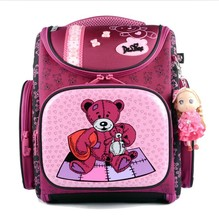 New 2016 Fashion Brand Cartoon Dogs Cute Bear Girls School Bags Waterproof Foldable Orthopedic School Backpacks Kids Bolsas(China (Mainland))
