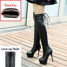 2020 Yeni Uyluk Yüksek Çizmeler Kadın Büyük Boy 34-46 Sonbahar Kış platform ayakkabılar Yuvarlak Ayak 13cm Ince Yüksek topuklu Over Diz Çizmeler(China)