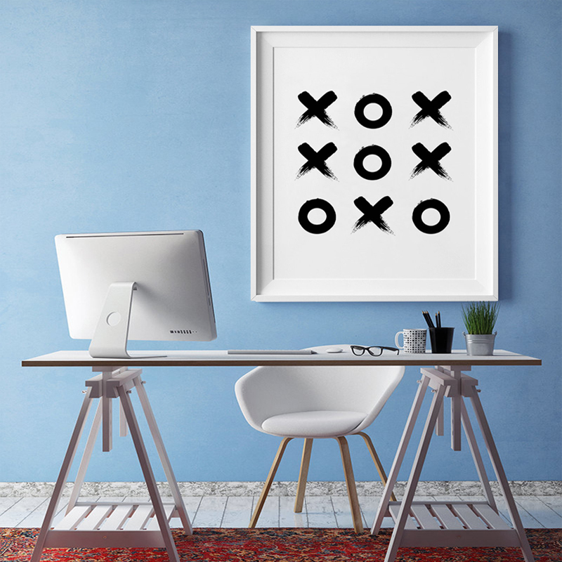 Tic Tac Toe Geometric Print- Scandinavian Poster Minimalist Poster Modern Canvas Art Painting Wall Pictures Home Decor, No Frame