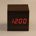 LED Digital Alarm Clock 2 x AAA USB Powered Mini Wooden Clock Electronic Desktop Alarm Clock