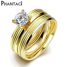 Buy 2 PCS CZ Crystal Stainless Steel Rings Women Gold Color Titanium Zircon Engagement Finger Rings Set Jewelry Wholesale 2016 for $2.07 in AliExpress store