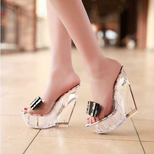 Sexy Open toe Rhinestone Bowtie Patent Wedges Slides 2015 Crystal High Heels Platform Sandals Summer Style Women Shoes Woman(China (Mainland))