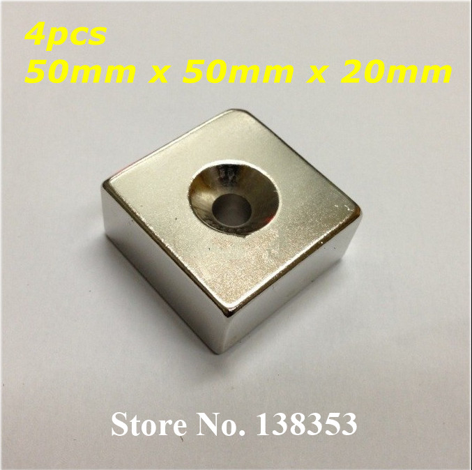 Wholesale 4pcs Strong Neodymium Countersunk Block Magnets 50mm x 50mm x 20mm With Single Hole N35 Square Cuboid Magnet<br><br>Aliexpress