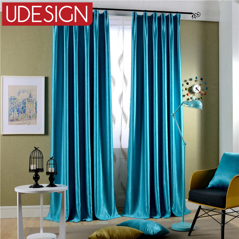 solid color blue curtains for living room flocked modern curtains