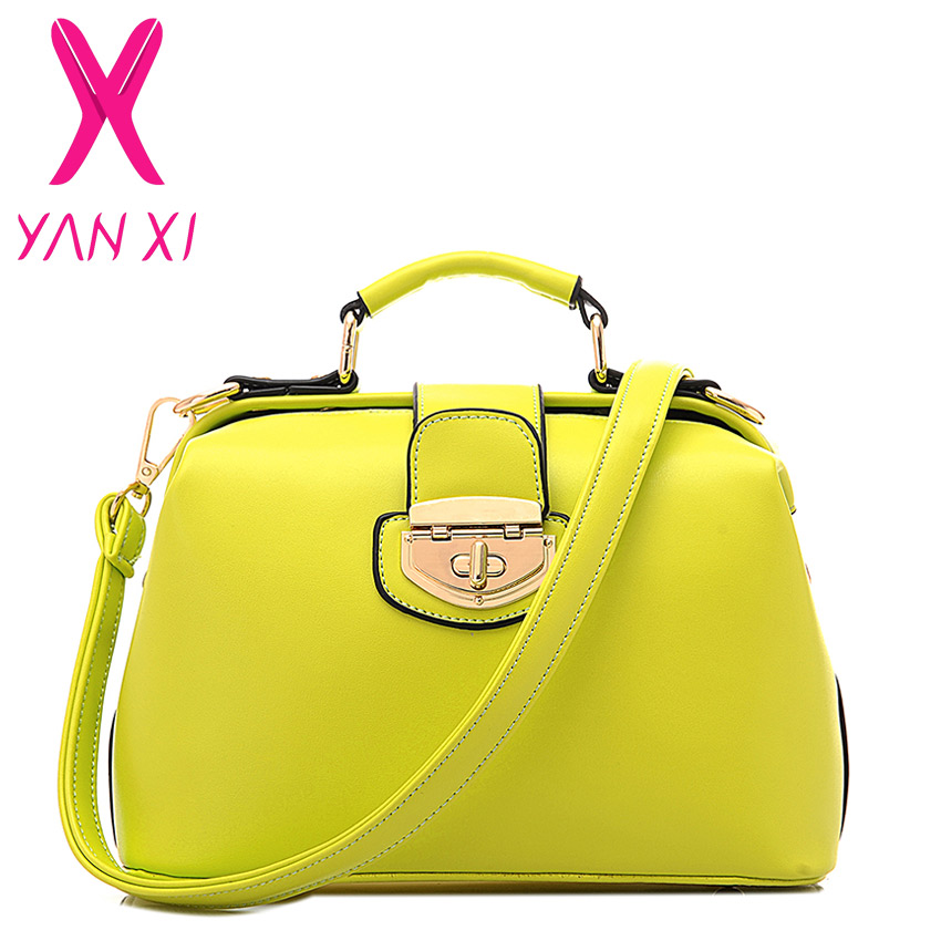 New 2015 fashion style women pu leather bag cute Catch shoulder Package sac a main yellow bag messenger bags(China (Mainland))