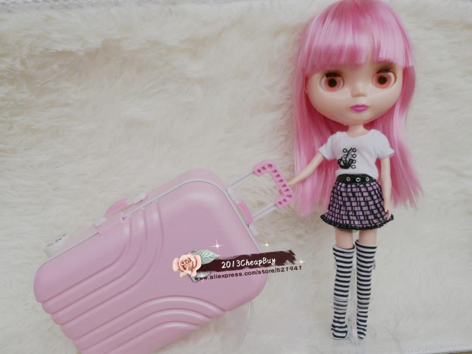 Free Transport,doll Suitcase trolley case for blythe Barbie,bjd equipment.pullip tanggo momoko licca doll bag doll equipment