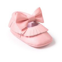 ROMIRUS Latest 12 Color Handmade Baby Moccasins Soft Bottom Butterfly-knot Baby Shoes Tassels Baby Prewalkers Shoes(China (Mainland))