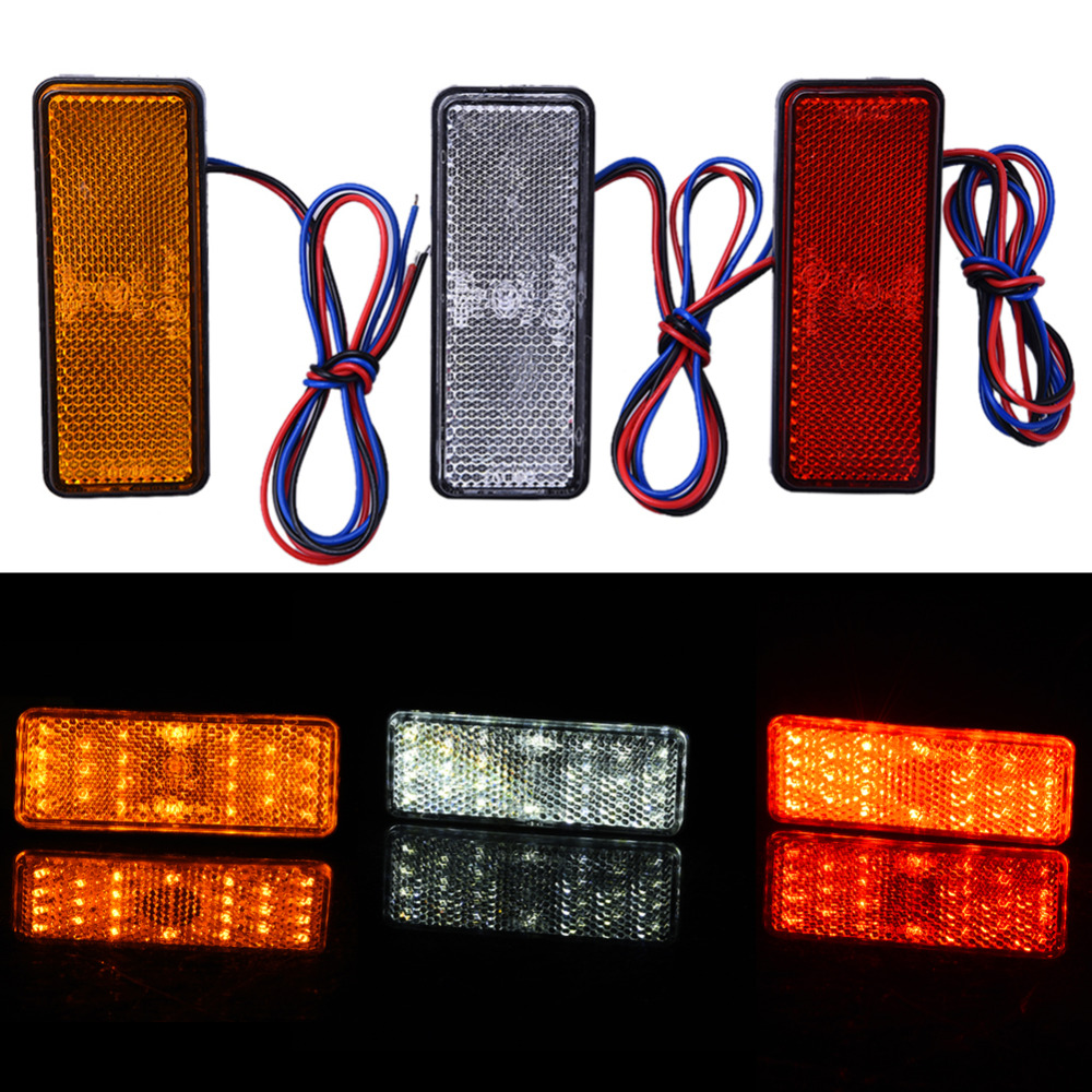 12V Car-Styling Universal LED Reflector Rear Tail Brake Stop Marker Light For Jeep SUV Truck Trailer Motorcycle Electric Cars