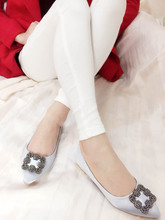 2015 new diamond buckle shoes elegant pointed heels shoes leather shallow export trend