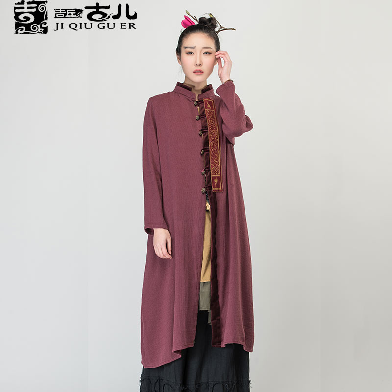 Jiqiuguer Brand Ethnic medium-long trend design long-sleeve stand collar embroidered cardigan Jackets G161Y009Одежда и ак�е��уары<br><br><br>Aliexpress