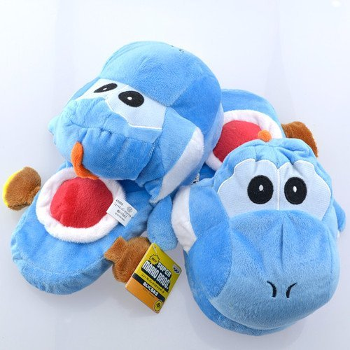 Retail 1 Pairs Blue Yoshi Plush Doll Toys Slippers 11 INCH Free Shipping