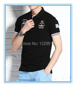 Top Quality!2015 embroidery camisa polo masculina men Aeronautica militare Slim Fit Shirts For Men Brand Shark Shirt ,size M-XXL