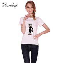 Buy Dandeqi Naughty Black Cat 3D T shirt Women Lovely Shirt Comfortable Brand Shirts Soft Tops for $5.86 in AliExpress store