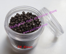 Free shipping 1000pcs/bottle 2.9×1.6×2.0mm Medium Brown Nano Rings with Silicone for Nano beads Hair Extensions