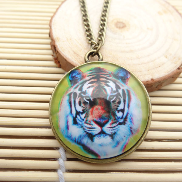 12pcs/lot Wholesale Fashion Glass Dome Cabochon Tiger Pendant Necklace For Men Jewelry(China (Mainland))