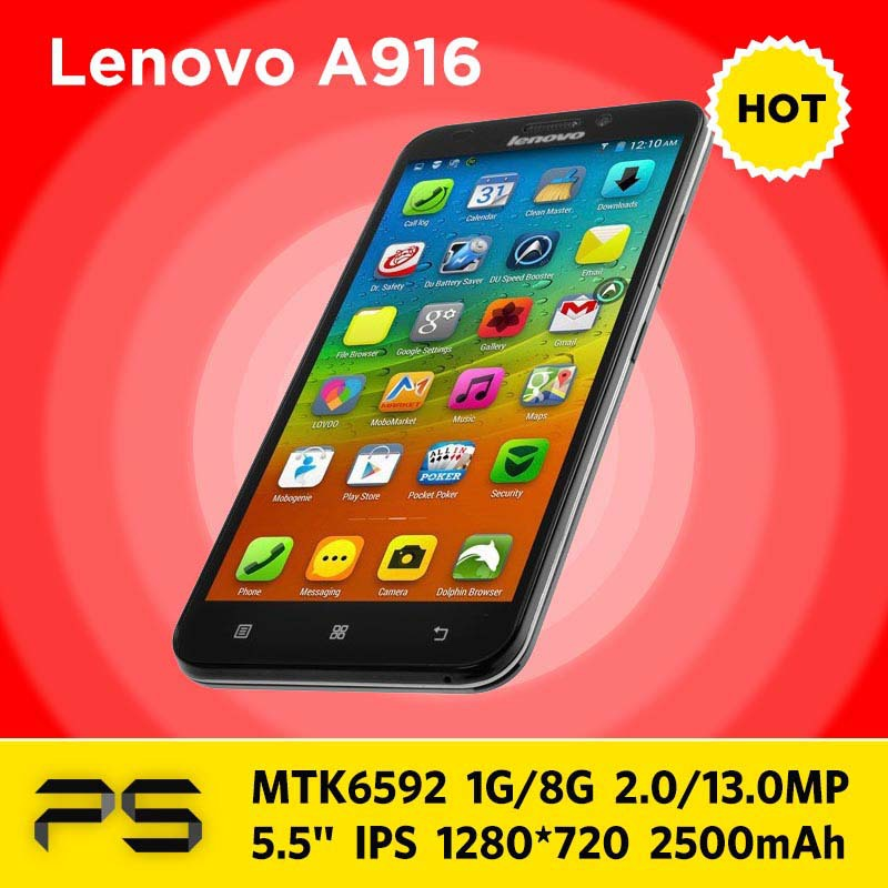 """5.5"""" Original Lenovo A916 + Crystal Silicone Case + Screen Protector + Plug Adapter if Necessary+Multilang-rom Updating Service(China (Mainland))"""