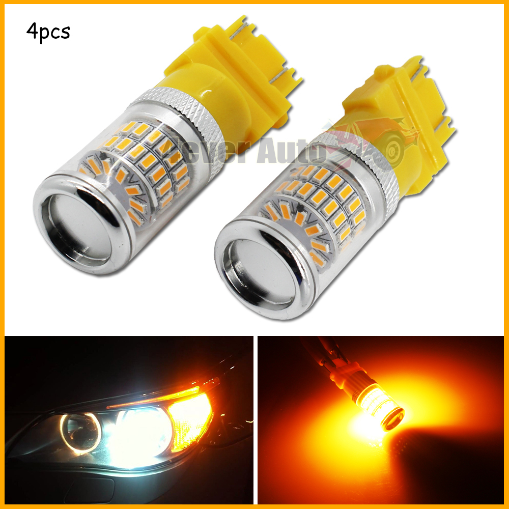 4pcs Amber Yellow 48-SMD 3156 3157 T25 LED Bulbs w/ Reflector Mirror Design Turn Signal Lights, Daytime Running Lights Bulbs(China (Mainland))