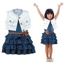 Retail, 2015 New Summer children Clothing Sets Baby girls Casual Clothing Set fashion denim dress 2pcs suits free(China (Mainland))