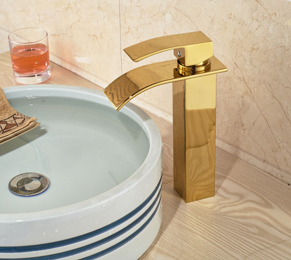 Фотография Free Shipping Gold Brass Waterfall Basin Sink Mixer Tap Faucets Single Handle Mixer Tap