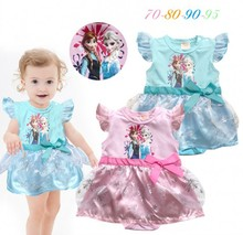 EMS DHL free shipping Baby Girls kid Light Blue Pink  Cute Princess toddlers Princess Romper Ice Queen Body Suit 2 Coloes(China (Mainland))