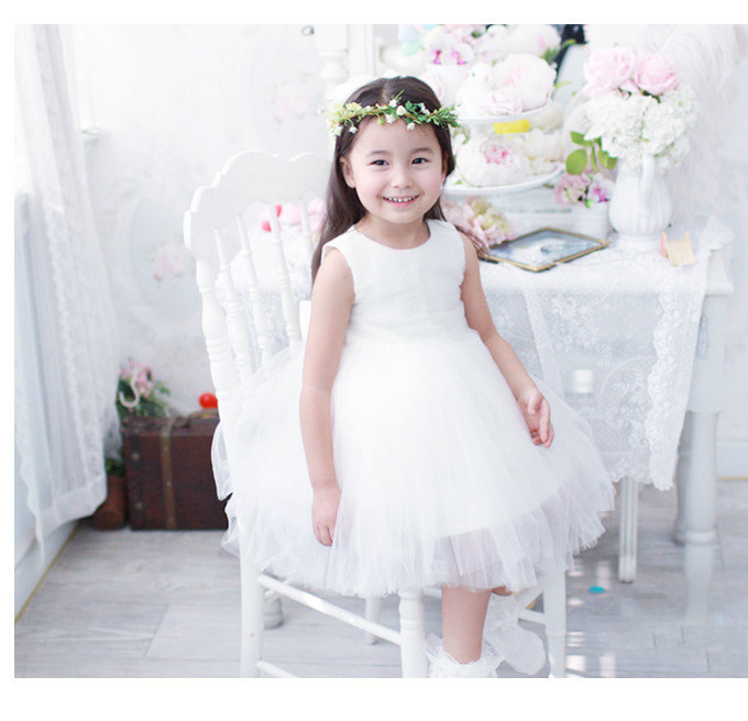 2015 New 1-6 Age Girls White Flower Wedding Frocks Bridesmaid Dress Toddler Girl Purple Princess Party Dresses Ball Gowns Tutu(China (Mainland))