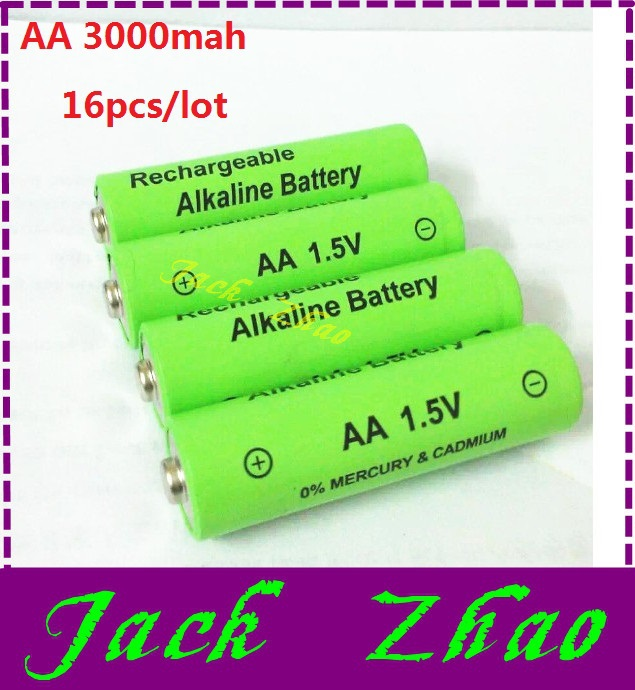 Wholesale 16pcs/lot aa rechargeable battery 3000mah 1.5V aa New Brand Alkaline Rechargeable batery for led light toy mp3(China (Mainland))