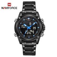 NAVIFORCE Men Auto Date Luminous Hands Calendar Quartz Watch Army Sport Hardlex Digital Wristwatch Stop Watches Free Ship