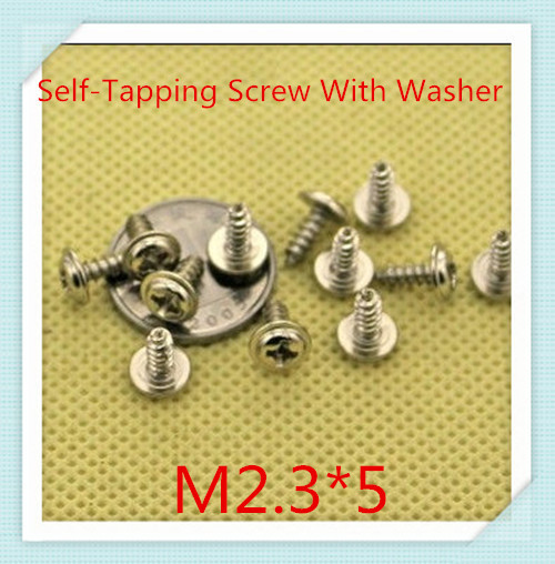 1000PCS/LOT M2.3*5 Steel With Nickel Pan Head Cross Recessed Self-tapping  Screw With  Washer<br><br>Aliexpress