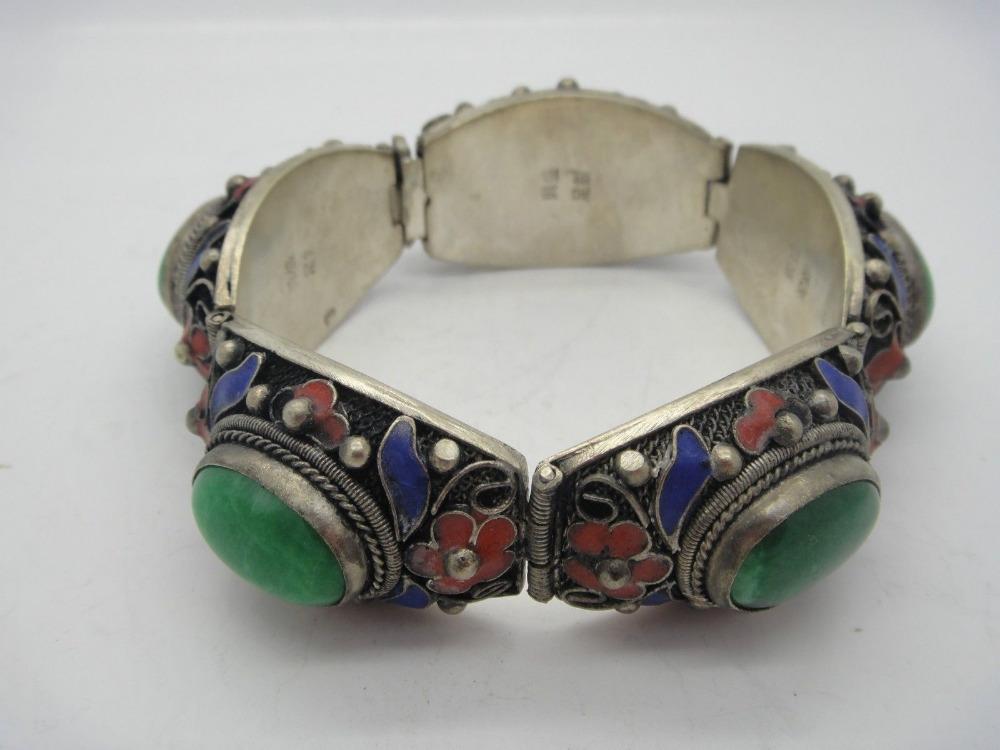 tibet Handwork inlay 5 green Jade Cloisonne Red Flower bracelet^^@^18K GP style Fine jewe Noble Natural jade FREE SHIPPING<br><br>Aliexpress