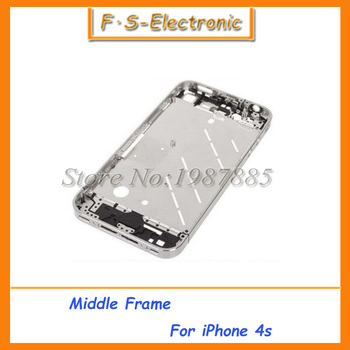 Original High Quality Silver Middle Frame Housing Chassis Chrome Bezel For iPhone 4S High Quality Repair Parts Free Shipping